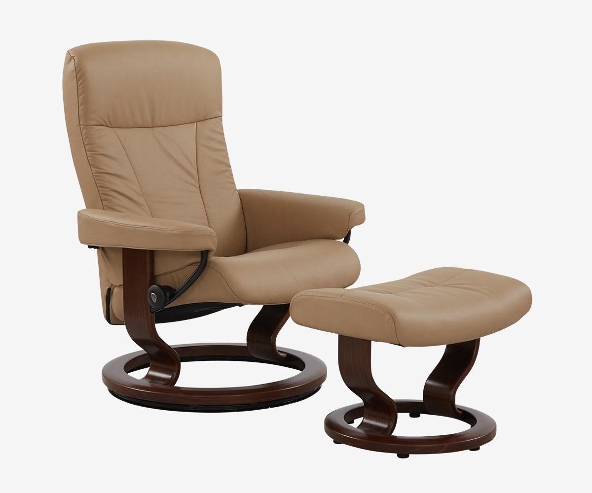 Stressless® President Medium Recliner U0026 Ottoman
