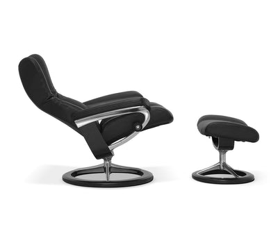 Stressless® Wing Recliner & Ottoman with Signature Base
