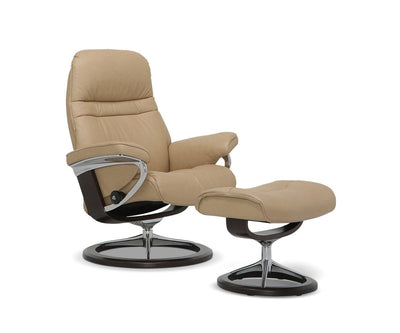 Stressless® Sunrise Recliner & Ottoman with Signature Base