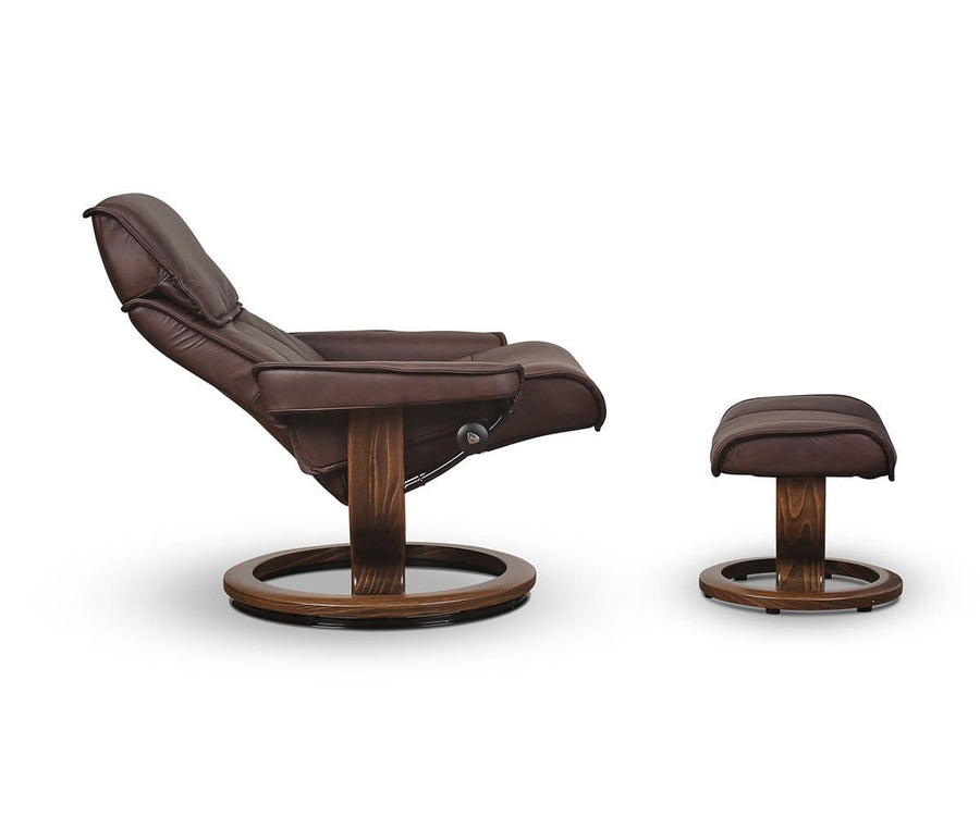 Stressless® Admiral Recliner & Ottoman - Chocolate