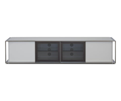 White industrial modern media console stand