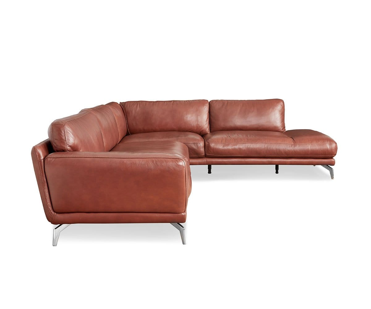 Awesome Peruna Leather Right Sectional Dania Furniture Customarchery Wood Chair Design Ideas Customarcherynet