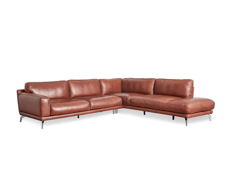 Peruna Leather Right Chaise Sectional