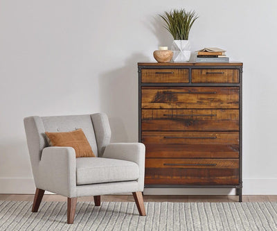 Contemporary antique rustic high chest