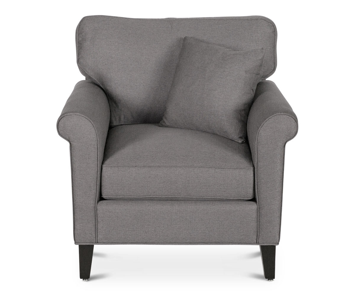 Classic Scandinavian grey cushioned chair
