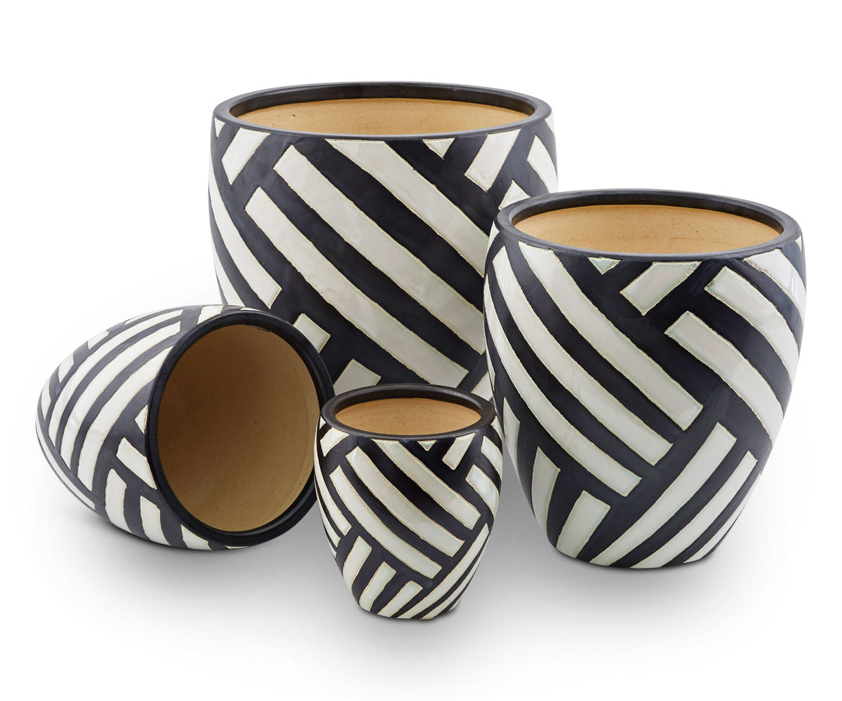 Stacked chevron striped garden pots