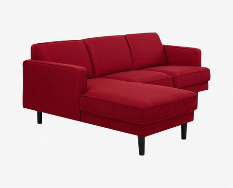 Plush red tailored modern chaise sofa