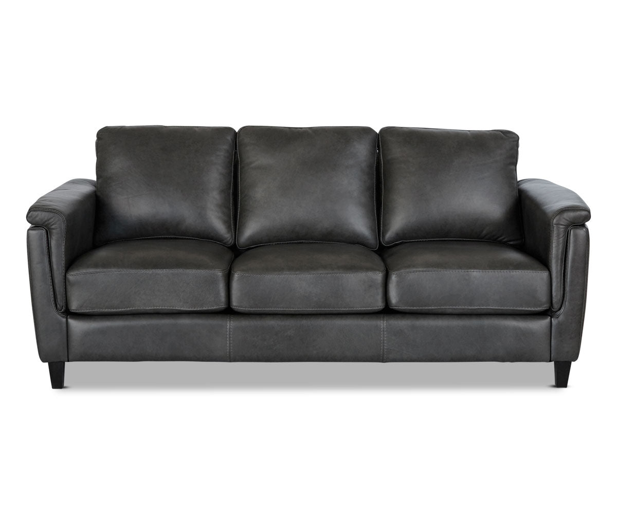 Overstuffed leather upholstered lounge sofa