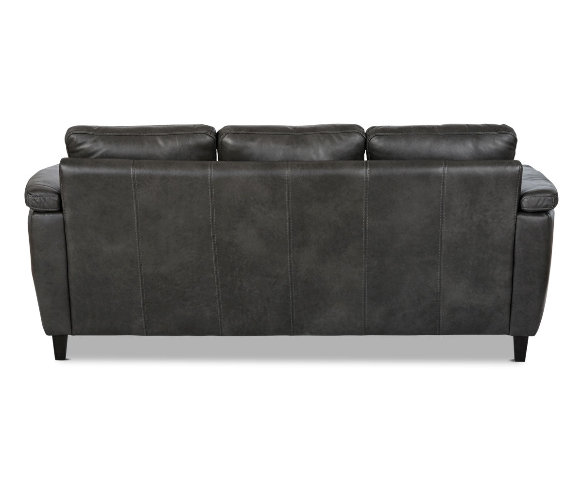 Grey leather traditional sofa