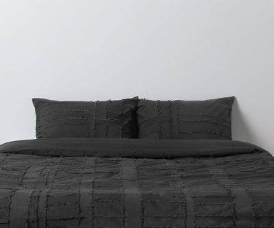 Dauda Duvet Cover + Shams Set - Charcoal