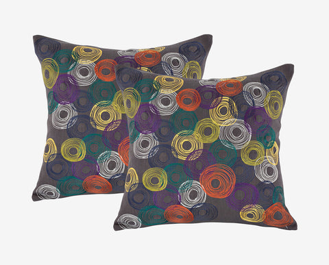 Modern colorful embroidered style accent pillow