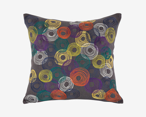 Modern eclectic whimsical style embroidered pillow