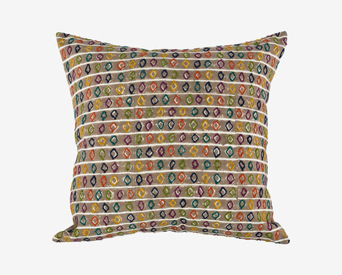Bold colorful embroidered pillow