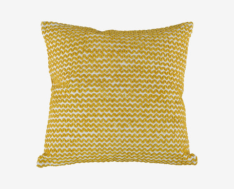 Bright colorful yellow embroidered plush pillow