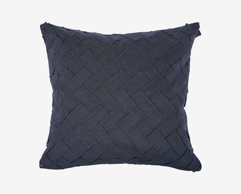 Navy colored chevron pattern sewn fabric pillow