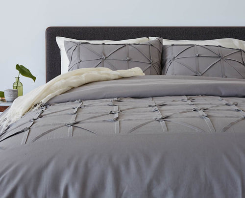 Grey plush textured knot bedding set with duvet