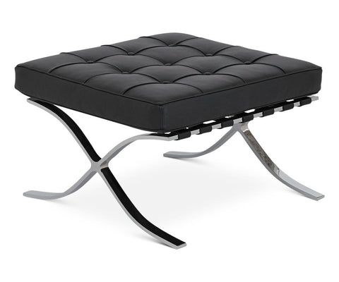 Metal chrome and leather nordic ottoman seating