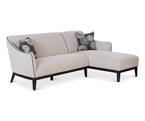 Scandinavian tailored beige sectional chaise