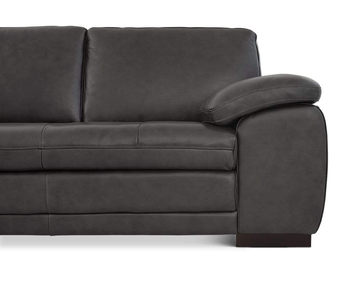 Cercis Leather Sectional Right Chaise Dania Furniture ~ Grey Leather Tufted Sofa