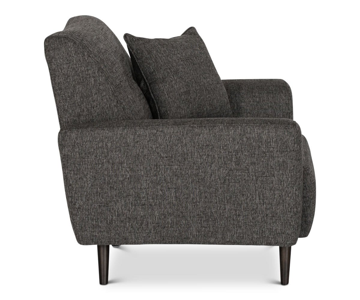 Overstuffed grey tailored plush lounge chair