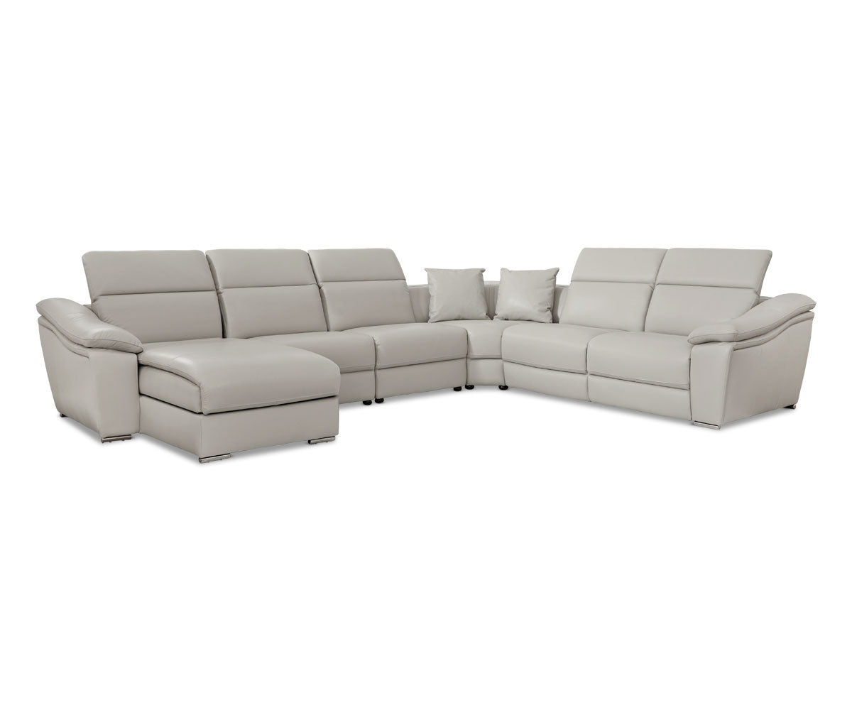 Maxino Left Power Sectional - Silver