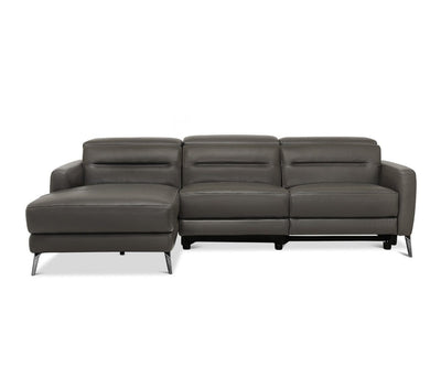 Vetali Leather Power Reclining Left Sectional