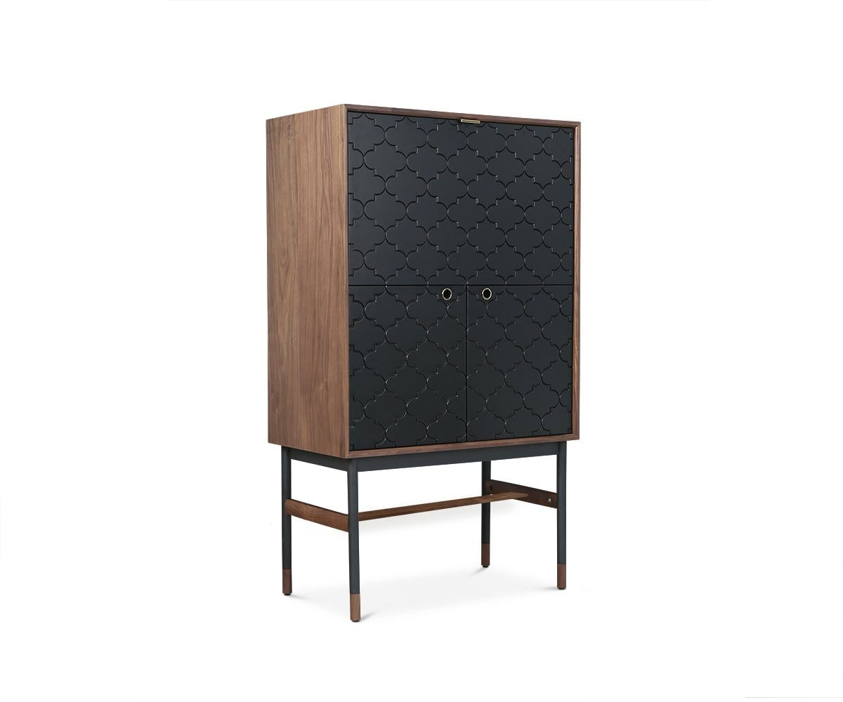 Kallan Bar Cabinet - Walnut/Black