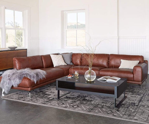 Peruna Leather Sectional Left Chaise