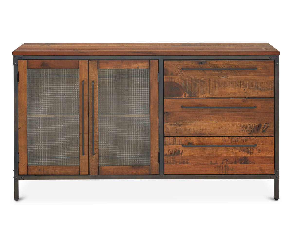 Antique industrial storage dining sideboard