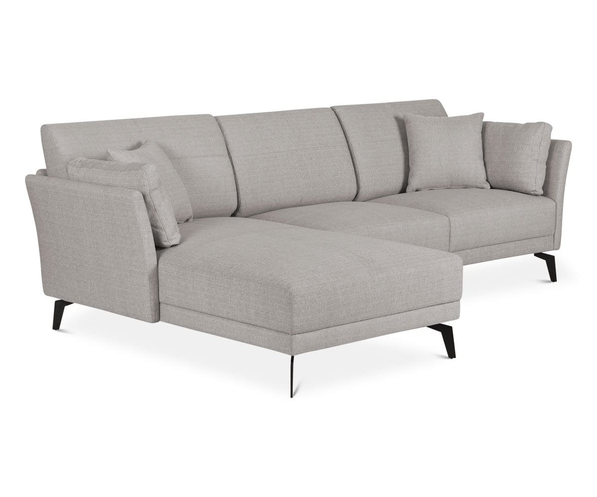 Charcoal tailored sectional chaise sofa