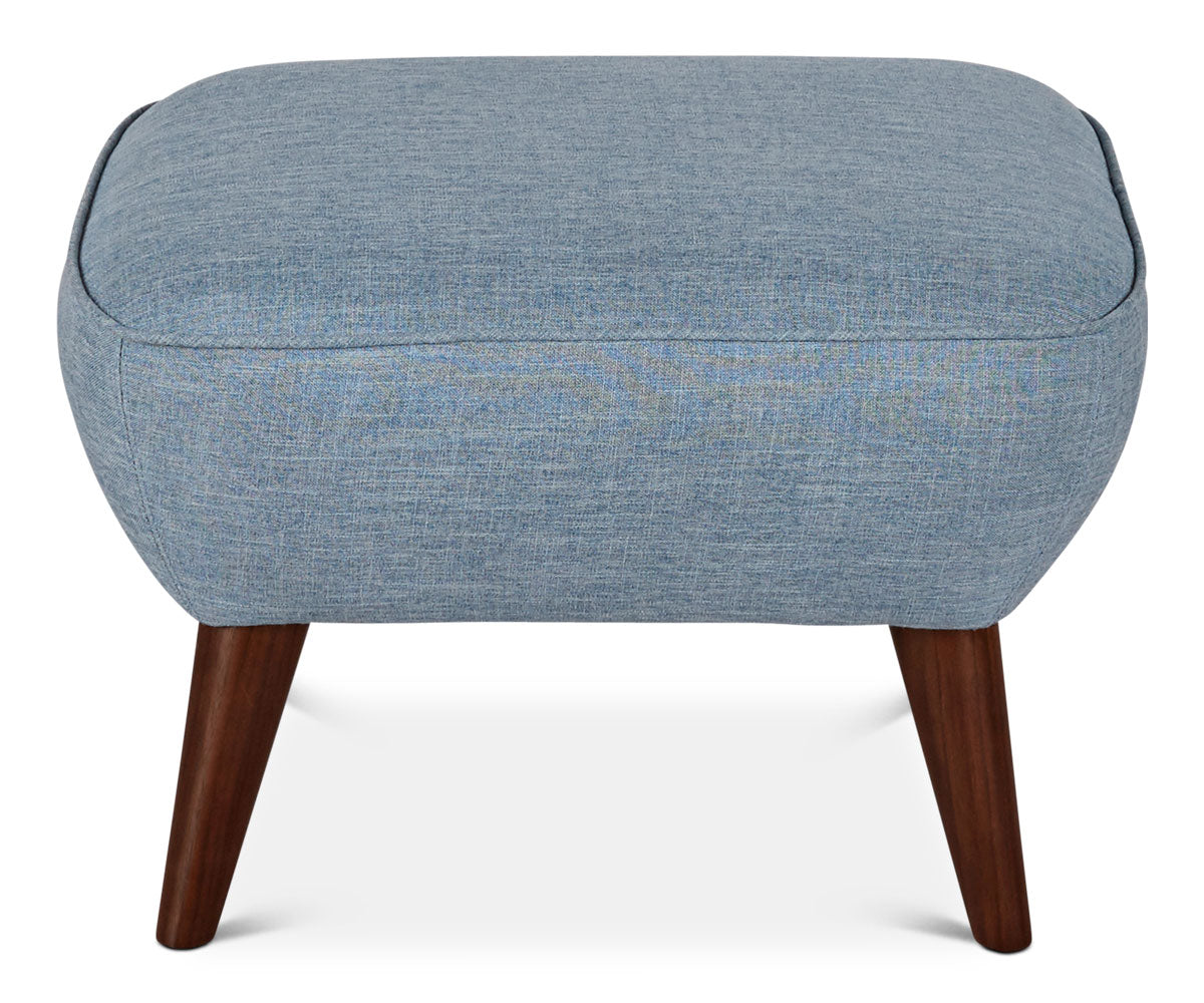 Classic blue tailored Scandinavian ottoman stool