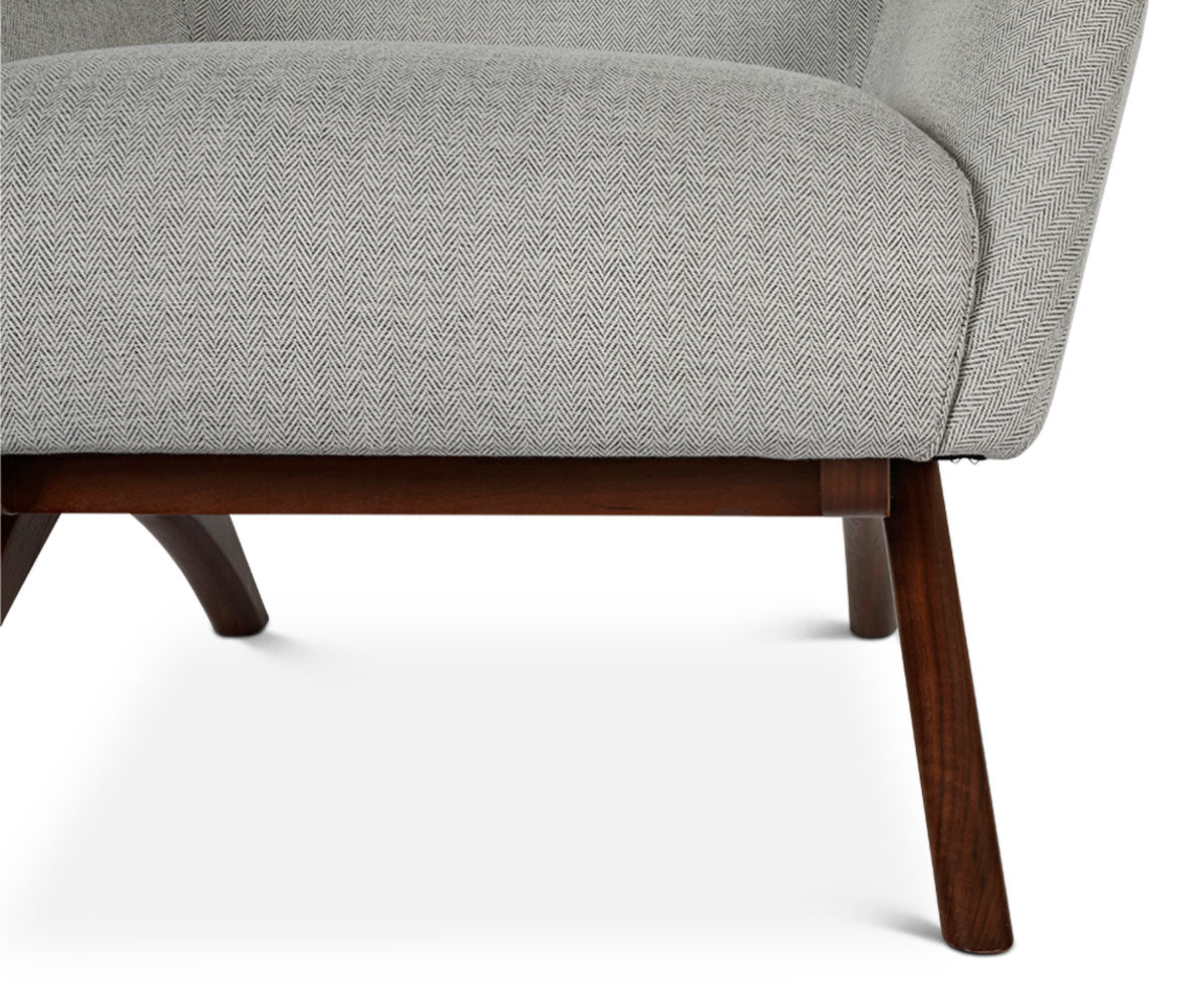 Contemporary upholstered chair with walnut wood
