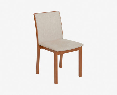 Light cherry wood upholstered dining chair