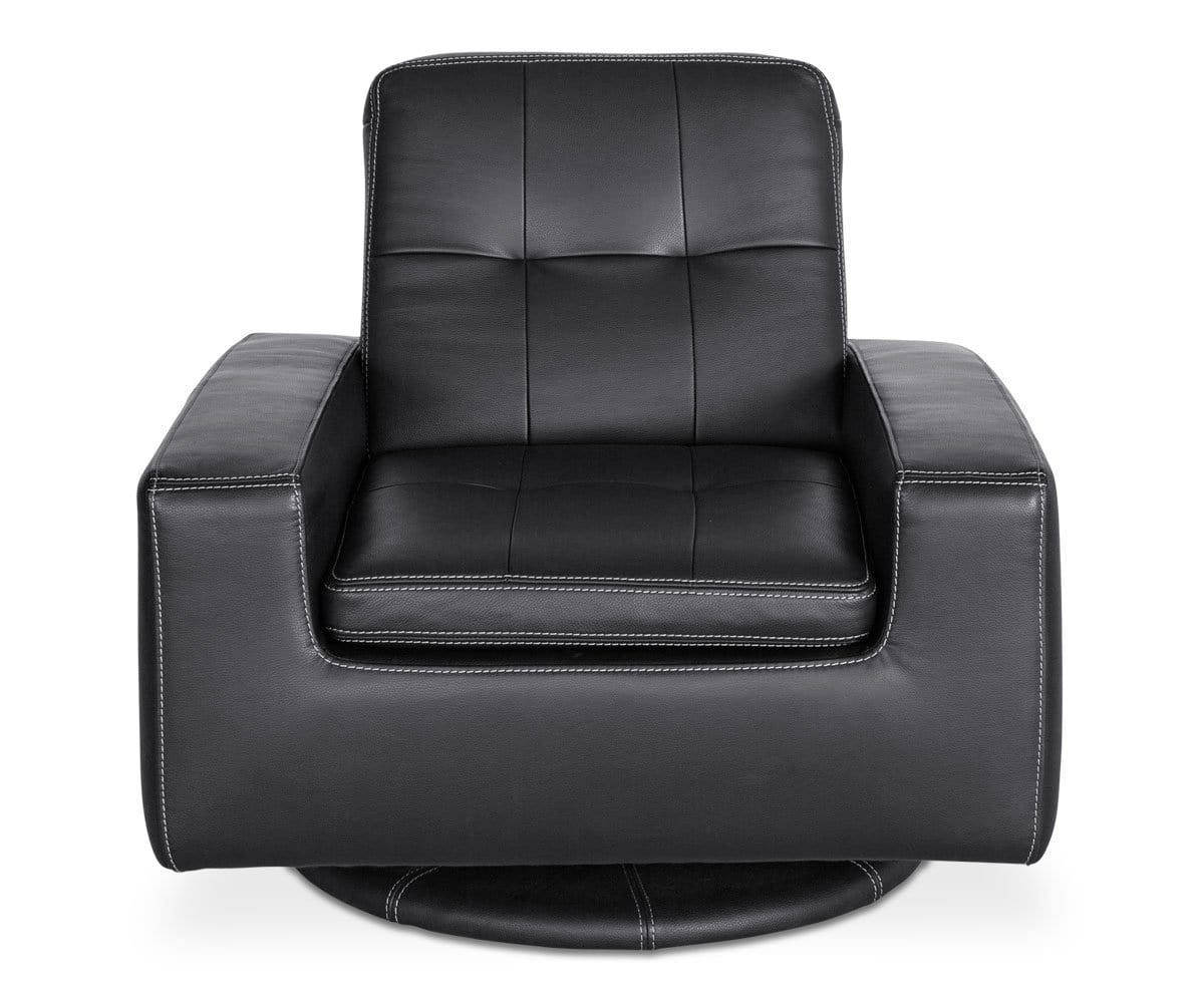 Francesca Leather Swivel Chair - Black