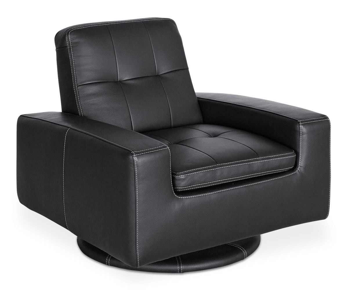 Phenomenal Francesca Leather Swivel Chair Black Dania Furniture Gmtry Best Dining Table And Chair Ideas Images Gmtryco