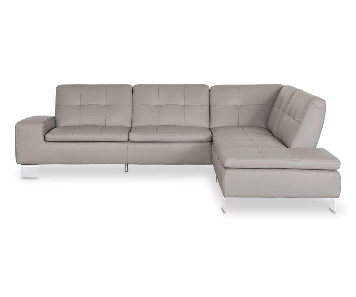 Francesca Leather Right Sectional - Grey