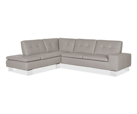 Francesca Leather Left Sectional - Grey