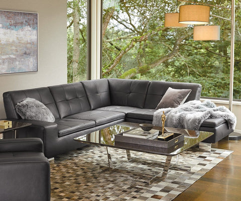 Francesca Leather Right Sectional - Black