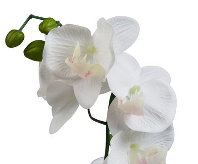 Potted White Faux Orchid