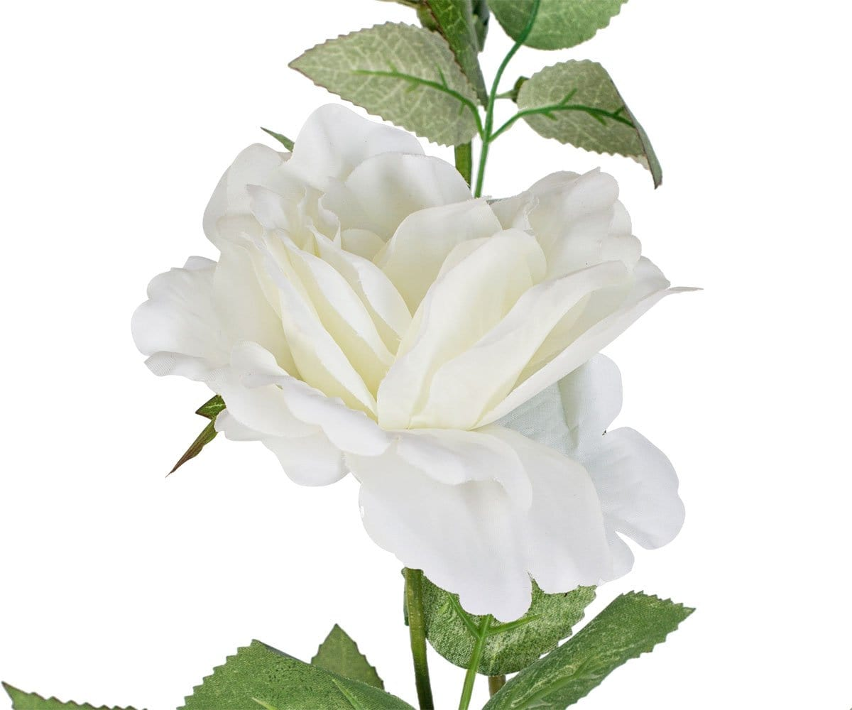 Double White Faux Rose Stem