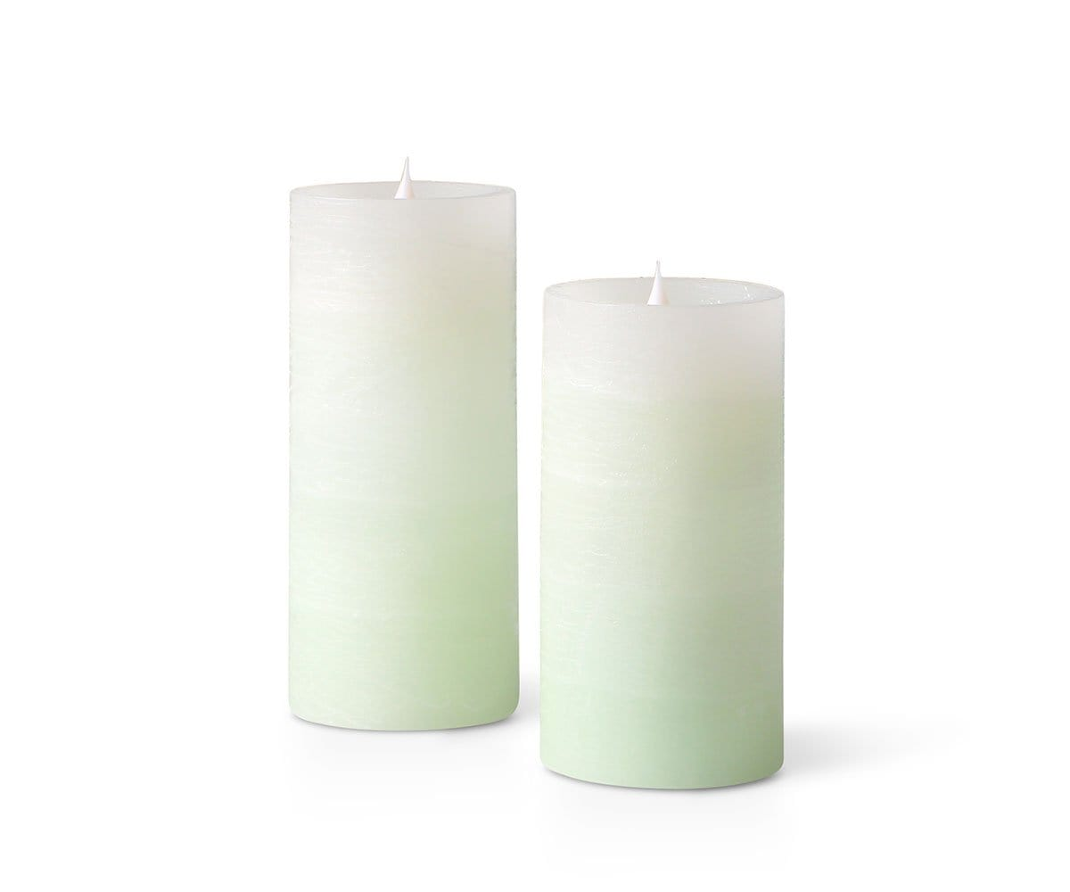 Lys Flameless Candles, Set of 2 - Green Ombre