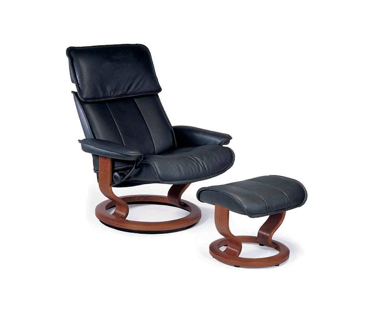 Stressless® Admiral Large Recliner & Ottoman - Black