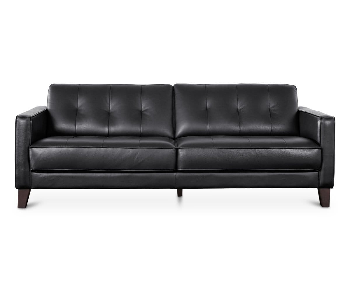 Gregata Leather Sofa - Black - Dania Furniture