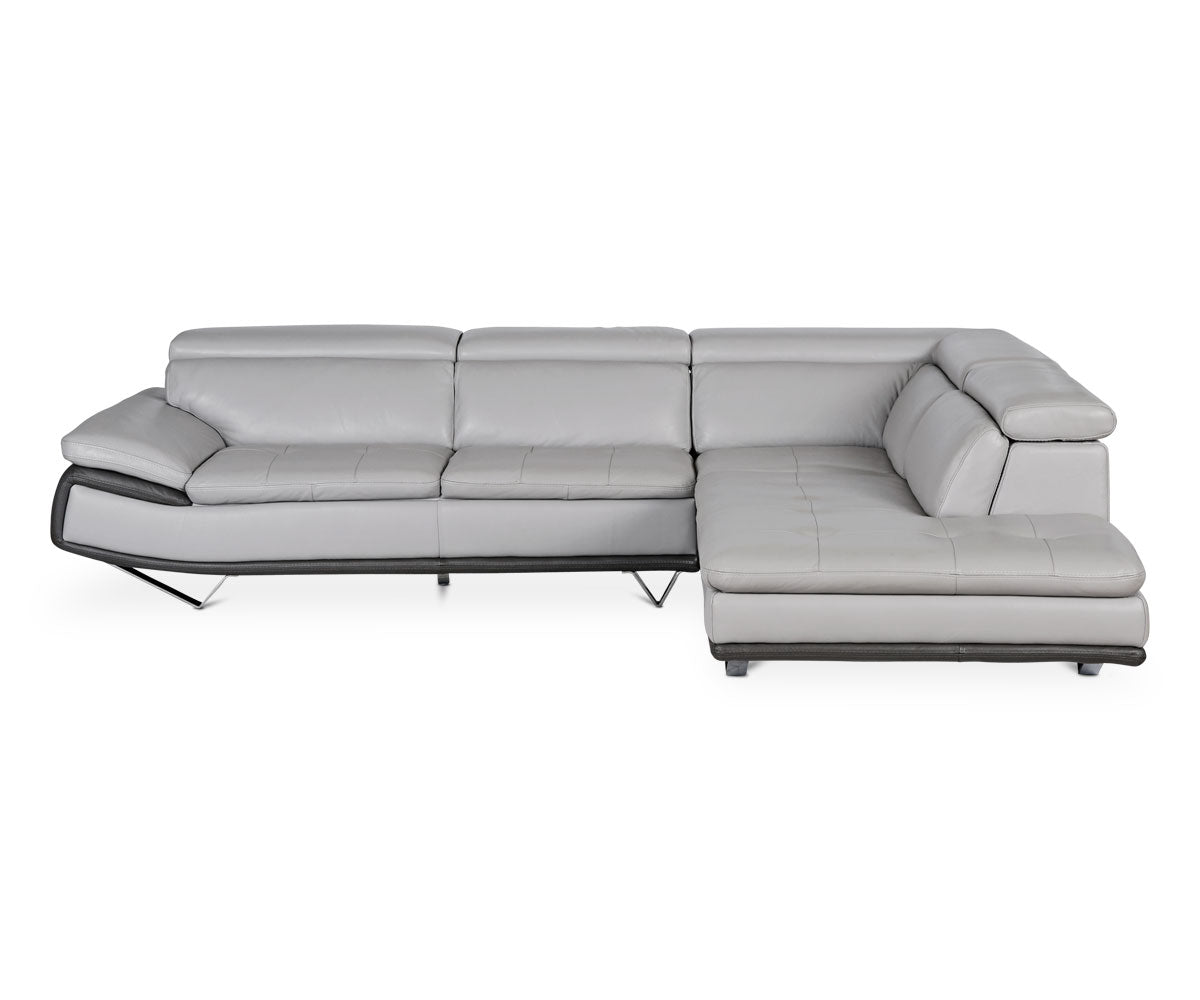 Plush cozy grey leather sectional