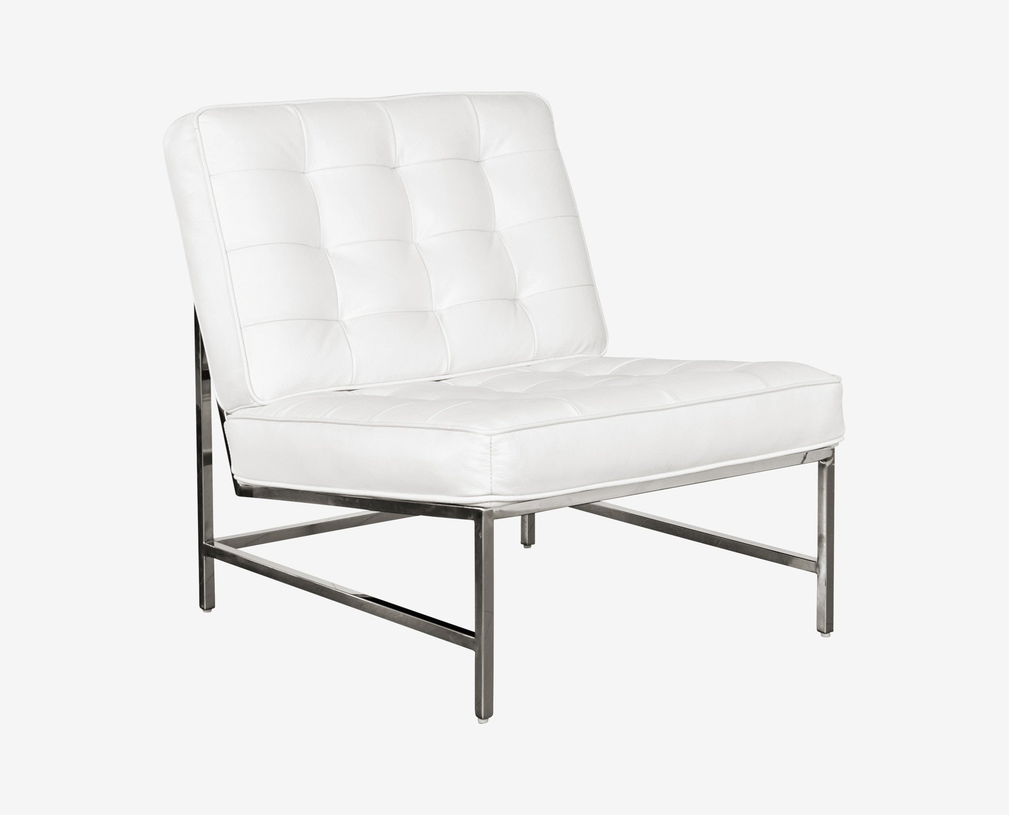 Tailored white tufted armless danish lounge chair
