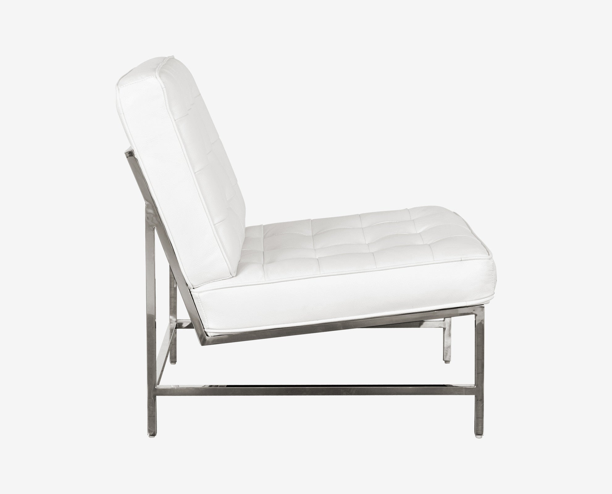 Scandinavian plush white tufted leather chrome chair
