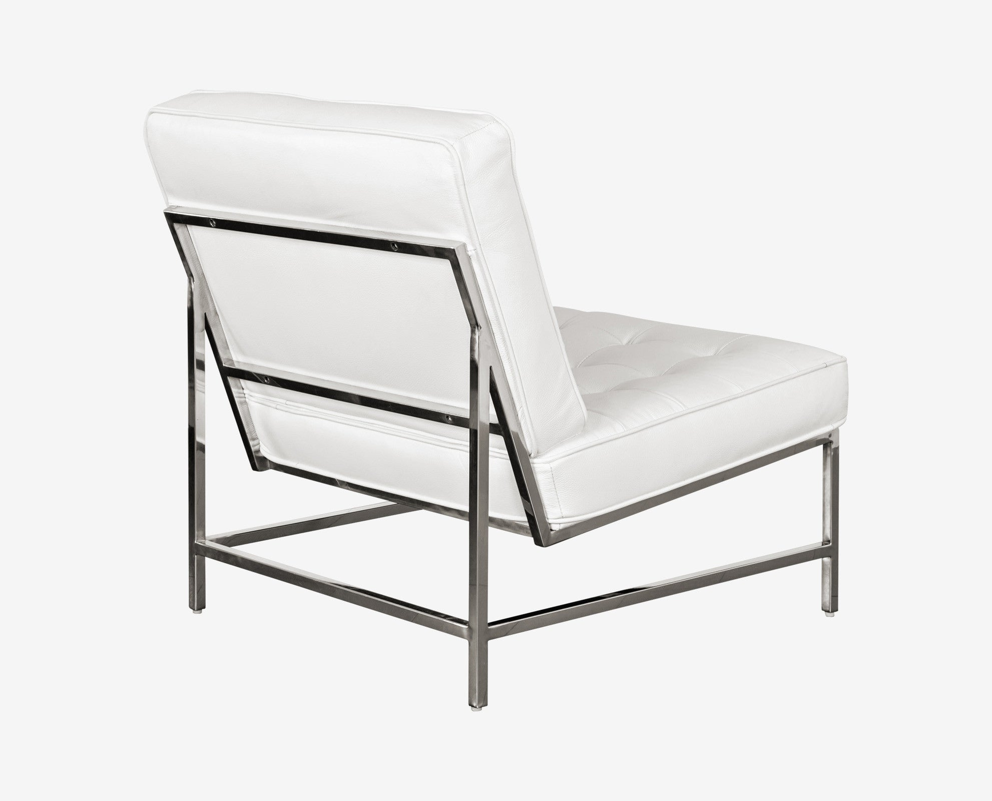 Minimalist white leather contemporary danish chair