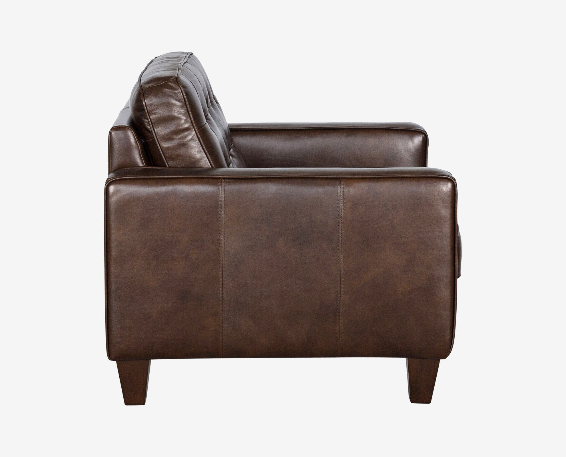 Traditional modern brown tufted leather accent chair