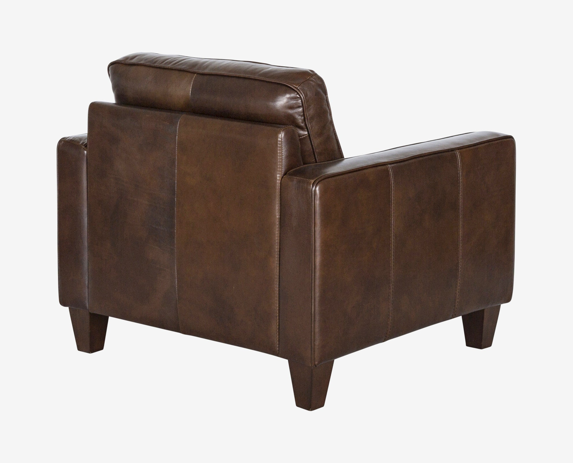Classic angular brown leather Scandinavian seat