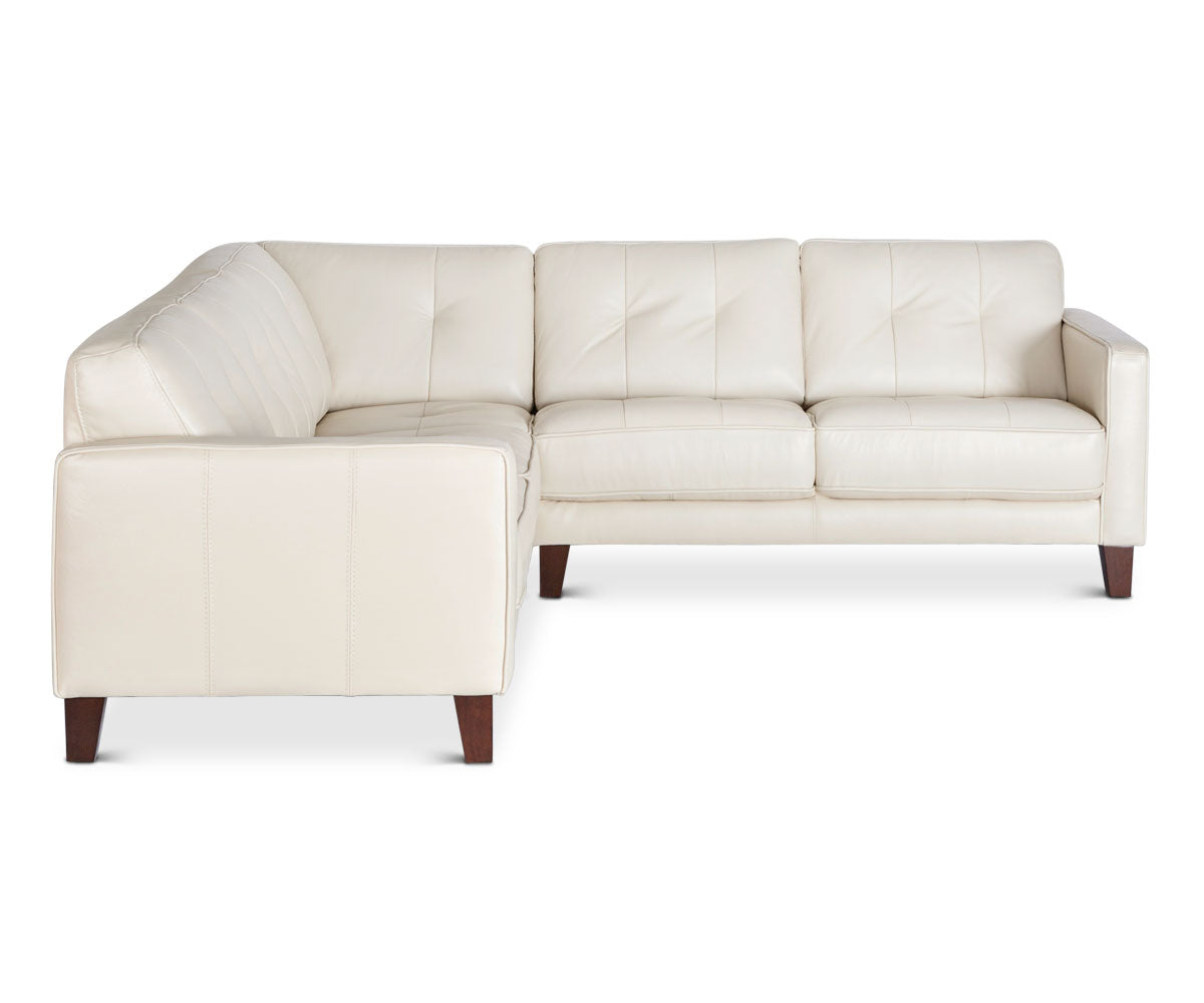 Lovely Beige Leather Corner Sectional